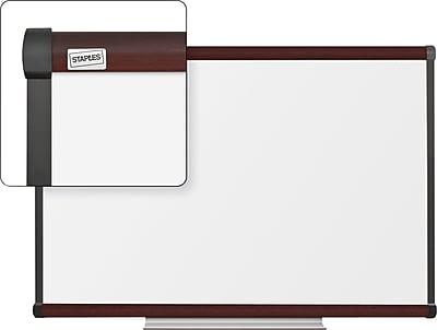 Staples Dry-Erase Whiteboard with Tray, Mahogany Frame, 3' x 2'