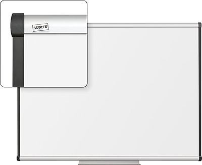 Staples Dry-Erase Whiteboard with Tray, Aluminum Frame, 4' x 3'