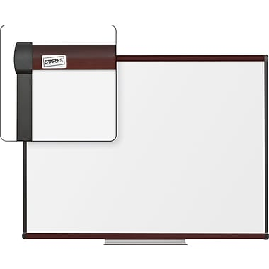 Staples Dry-Erase Whiteboard with Tray, Mahogany Frame, 4' x 3'