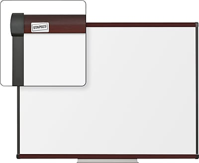 Staples Dry-Erase Whiteboard with Tray, Mahogany Frame, 4' x 3'