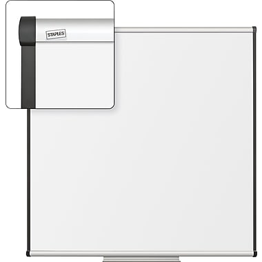 Staples Dry-Erase Whiteboard with Tray, Aluminum Frame, 4' x 4'