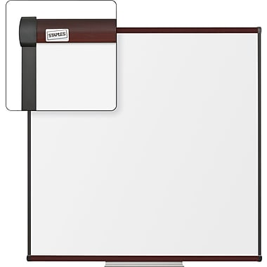 Staples Dry-Erase Whiteboard with Tray, Mahogany Frame, 4' x 4'