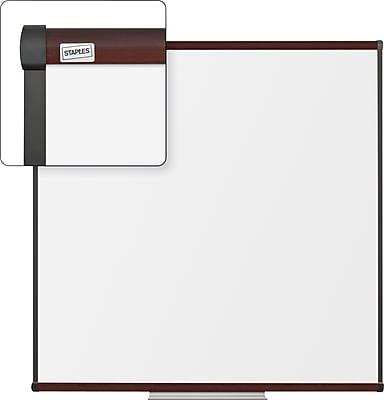 Staples Dry-Erase Whiteboard with Tray, Mahogany Frame, 4' x 4'