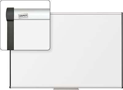 Staples Dry-Erase Whiteboard with Tray, Aluminum Frame, 6' x 4'
