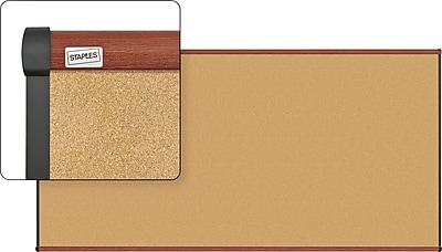Staples Cork Bulletin Board, Cherry Finish Frame, 8' x 4' (23688-CC)