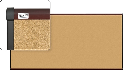 Staples Cork Bulletin Board, Mahogany Finish Frame, 8' x 4' (23693-CC)