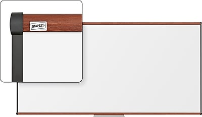 Staples Dry-Erase Whiteboard with Tray, Cherry Frame, 8' x 4'