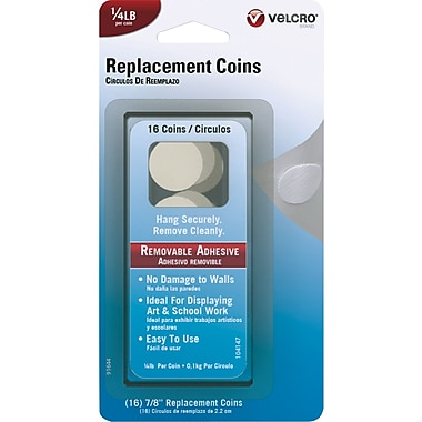 VELCRO® Brand Removable Replacement Coins, White, 1/4 lb, 16 Coins