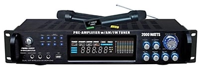 Pyle® PWMA2003T Hybrid Pre-Amplifier With AM-FM Tuner/USB/Dual Wireless Mic