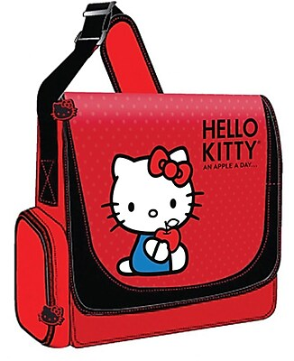 Hello Kitty KT4339 Vertical Messenger Style Laptop Case, Red 137477