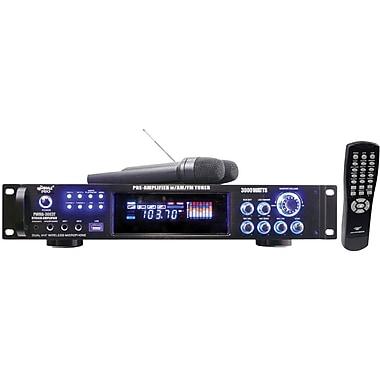 Pyle® PWMA3003T Hybrid Pre-Amplifier With AM-FM Tuner/USB/Dual Wireless Mic, 3000 W