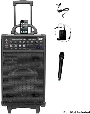 Pyle® PWMA1090UI Dual Channel Wireless Rechargeable Portable PA System With iPod/iPhone Dock, 800 W