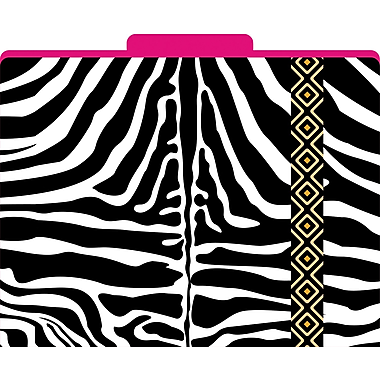 Barker Creek Zebra Decorative File Folders, Letter, 3 Tab, 12/pack (LL1318)