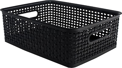 Plastic Weave Bin, Black, Medium