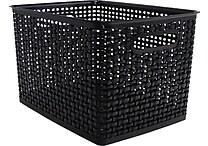 Plastic Weave Bin, Black, Large