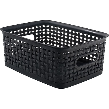 plastic weave bin black small