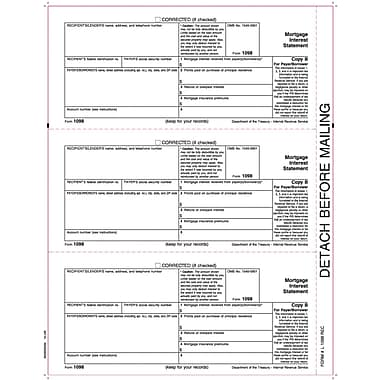 TOPS® 1098 Tax Form, 1 Part, Payer - Copy B, White, 8 1/2