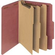 "Pressboard Classification Folder, 3"" Expansion, 6 Dividers, Letter, , Red, 10/BX"