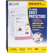 C-Line Top-Load 3-Hole Punched Polypropylene Sheet Protector, Heavyweight, Clear, 100/Bx