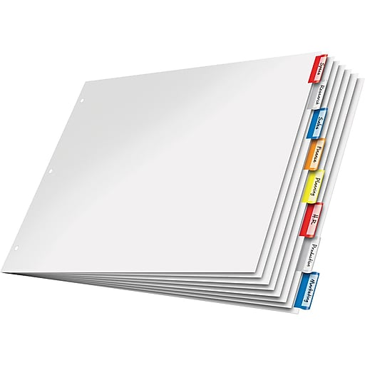 """Cardinal® 11"""" x 17"""" Paper Insertable Dividers, 8-Tab, Multicolor, 1/St"""
