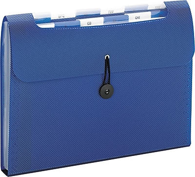 Step Index Organizer, 12-Pocket, Letter, Poly, Navy