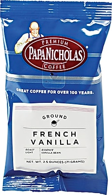 Papa Nicholas® French Vanilla Ground Coffee, Regular, 2.5 oz., 18 Packets