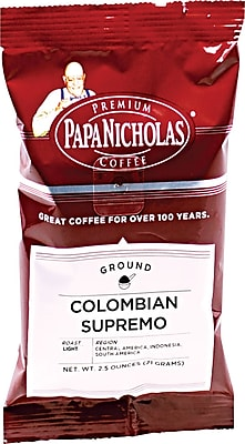 Papa Nicholas® Colombian Supremo Ground Coffee, Regular, 2.5 oz., 18 Packets