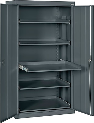 "Sandusky 66""H Pull-Out Tray Steel Storage Cabinet with 5 Shelves, Charcoal (ET52362466-02LL)"