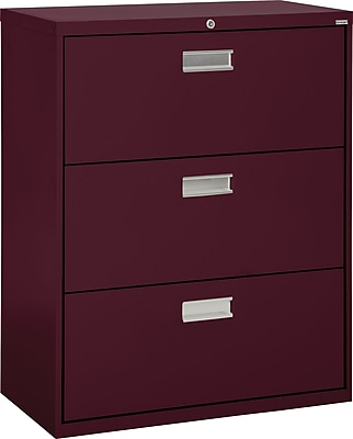 Sandusky 3-Drawer Lateral File Cabinet, Burgundy, 36