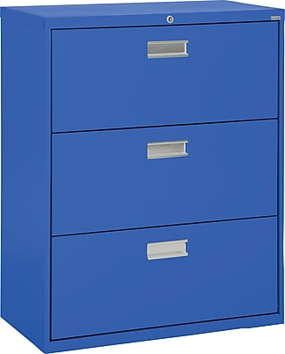 Sandusky 3-Drawer Lateral File Cabinet, Blue, 36