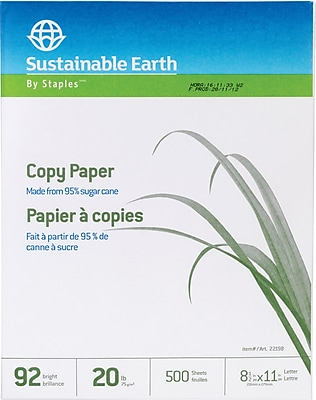 Staples Sustainable Earth Sugarcane-based 20lb Copy Paper, 8 1/2
