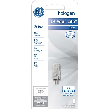 20 Watt GE T-3 JC Halogen Light Bulb, Clear
