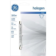 100 Watt GE T-3 Double Ended Halogen Light Bulb, Clear