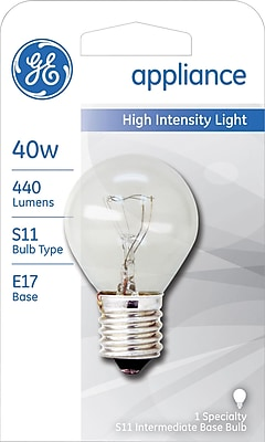 40 Watt GE S-11 High-Intensity Incandescent Bulb, Clear