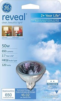 50 Watt GE Long Life Reveal® MR-16 Halogen Floodlight, Clear