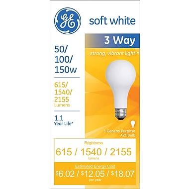 50/100/150 Watt 3-Way GE A-21 Incandescent Long-Life Bulb, Soft White