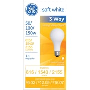 50/100/150 Watt 3-Way GE A-21 Incandescent Long-Life Bulb, Soft White