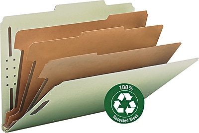 Smead 100% Recycled Pressboard 2/5-Cut Tab Classification Folders, 8-Fasteners, 3-Partitions, Legal, Gray/Green, 10/Box (19093)