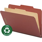 "Pressboard Classification Folder, 1 Divider, 2"" Expansion, 2/5 Cut, Legal,, Red, 10/BX"