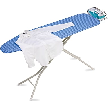 Honey Can Do 4 Leg Ironing Board with Retractable Iron Rest, Blue Stripe (BRD-01956)