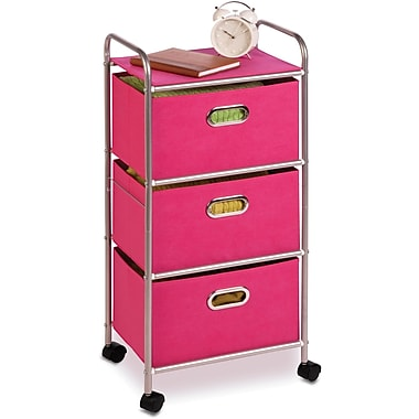 Honey Can Do Plastic Storage Drawer Cart, 3 Drawer, Pink
