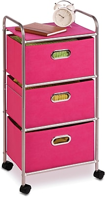 Honey Can Do Plastic Storage Drawer Cart, 3 Drawer, Pink (CRT-02348)