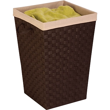 Honey Can Do Woven Strap Hamper with Liner, espresso / natural (HMP-03057)