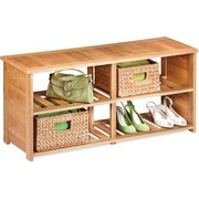 Honey Can Do Bamboo Shoe Bench, (SHO-02186), bamboo (SHO-02186)