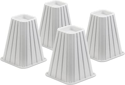 Honey Can Do Bed Risers, Set of 4, White (STO-01006)