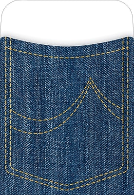 Barker Creek Peel and Stick Library Pocket, Denim Design