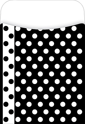 Barker Creek Peel and Stick Library Pocket, Black and White Dots Design