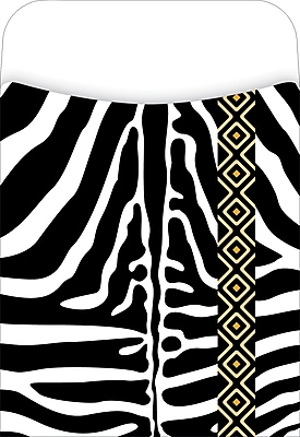 Barker Creek Zebra Peel & Stick Library Pockets, 3-1/2