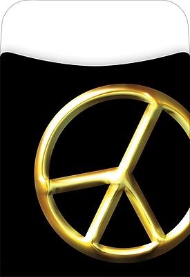 Barker Creek Peel and Stick Library Pocket, Peace Symbol Design, 30/Pack