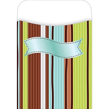Barker Creek Peel and Stick Library Pocket, Ribbon by the Yard Design